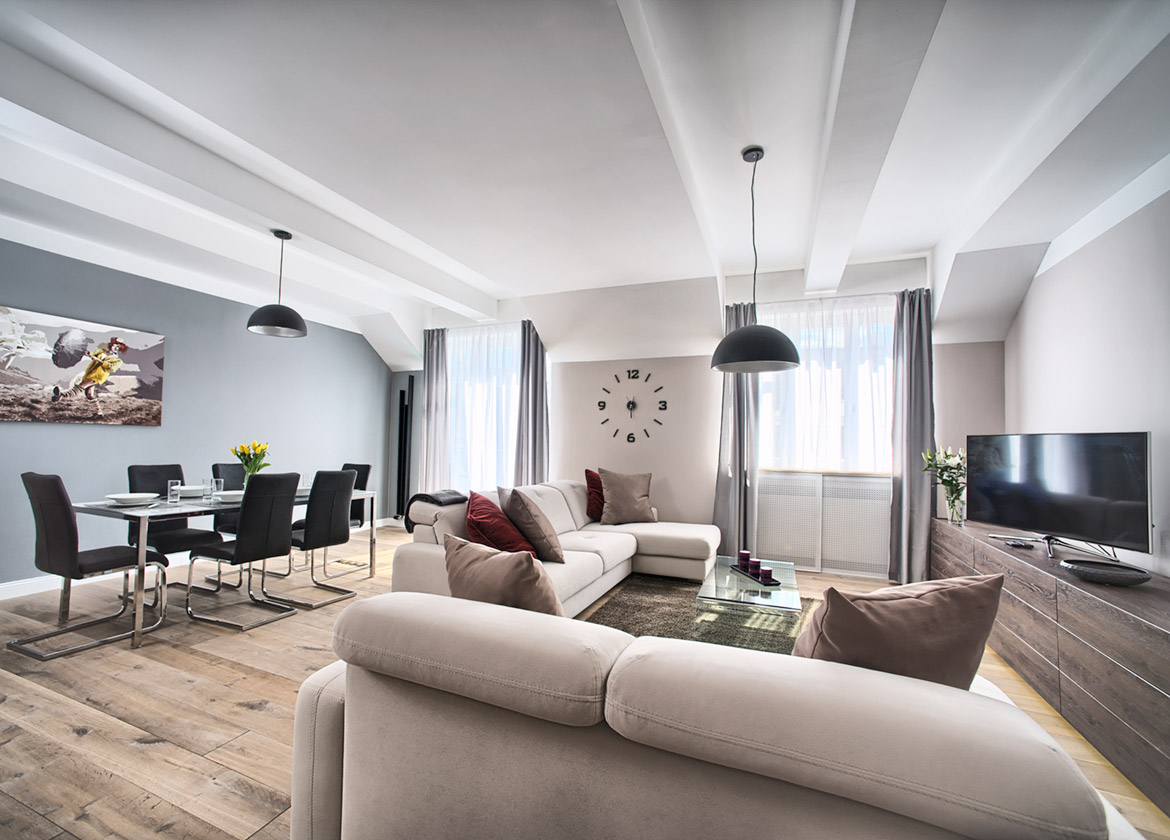 Spacious living room in the Art Residence Krocinova apartment number 52