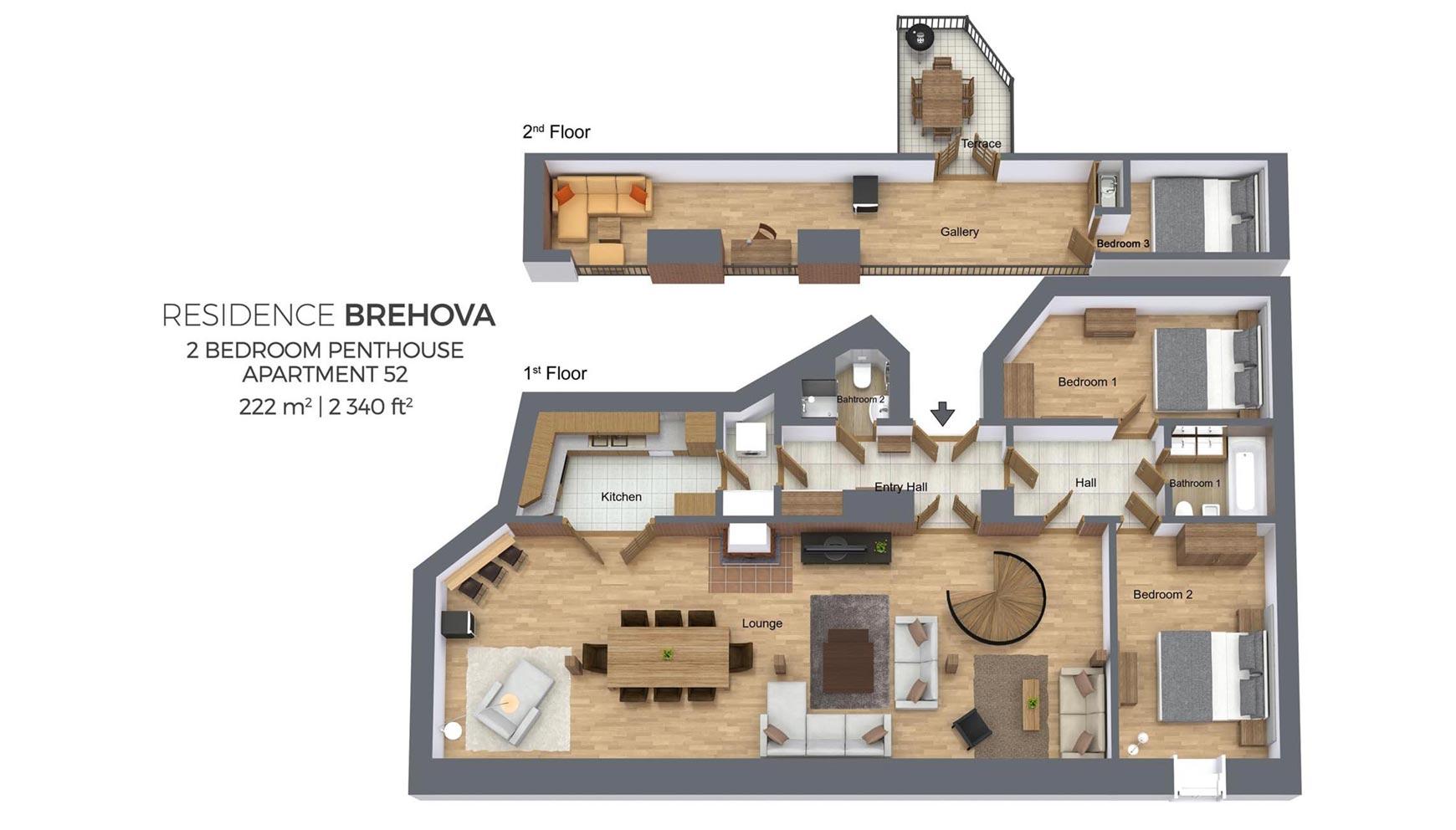 Penthouse Apartment Floor Plans Penthouse Apartment No 52 Residence Brehova