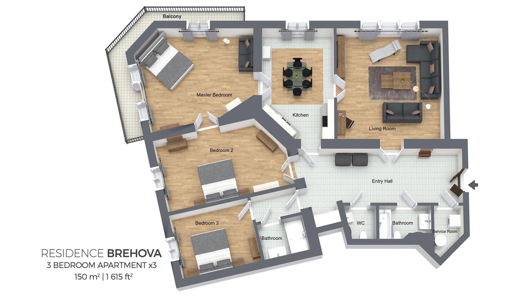 Floorplan Of A Three Bedroom Apartment In Residence Brehova