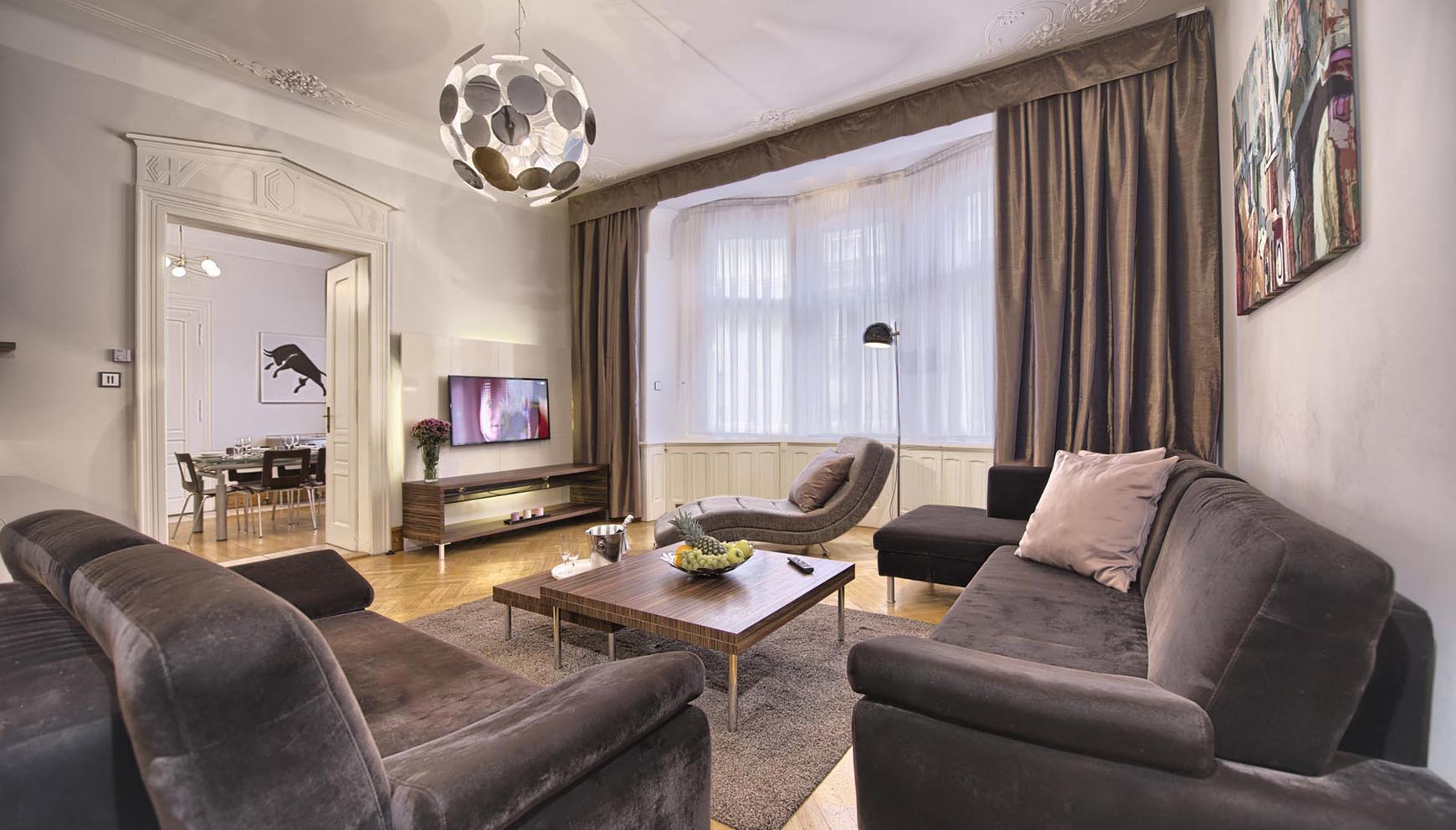 Wonderful Living Room In A Three Bedroom Apartment In Residence Brehova