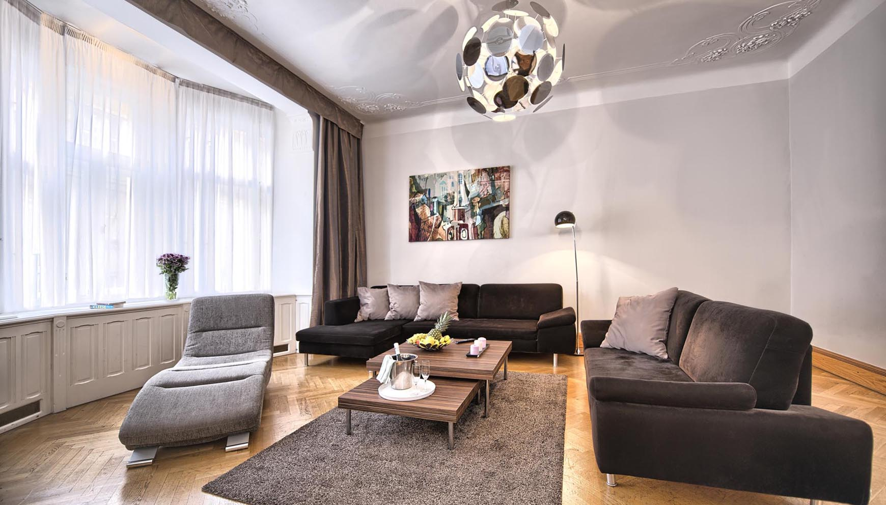 Living room in a three bedroom apartment in Residence Brehova