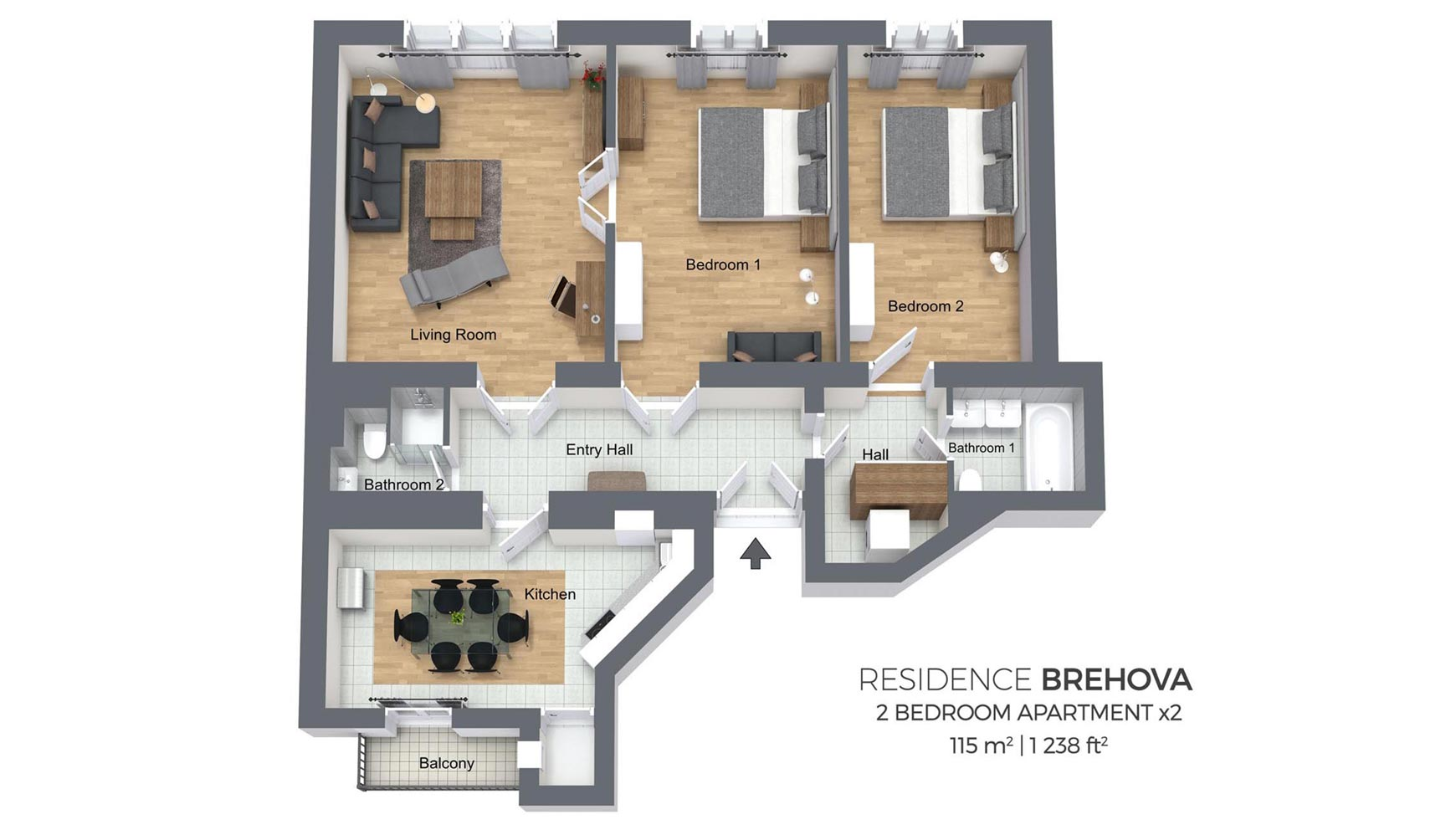 two bedroom apartment residence brehova
